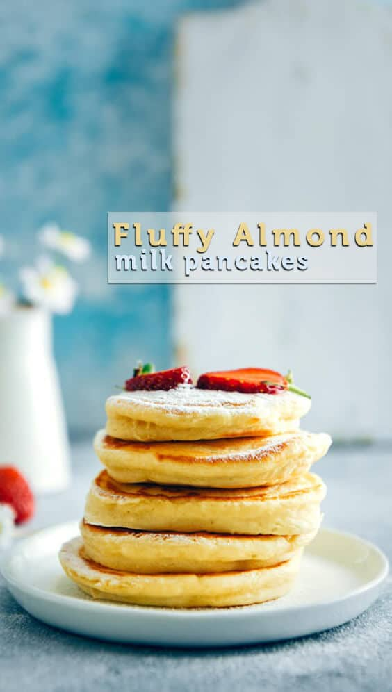 Fluffy Almond Milk Pancakes are perfect dairy free pancakes. Make these when everyone is sleeping in 15 minutes. Serve with fresh berries and make a wonderful start to your day. #pancakes #almondmilk #dairyfreepancakes #fluffypancakes #almondmilkpancakes