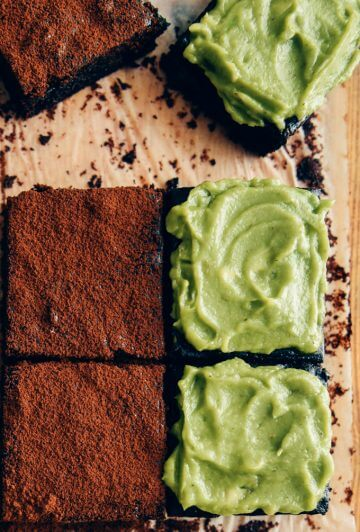 Avocado brownies with creamy dairy-free avocado frosting