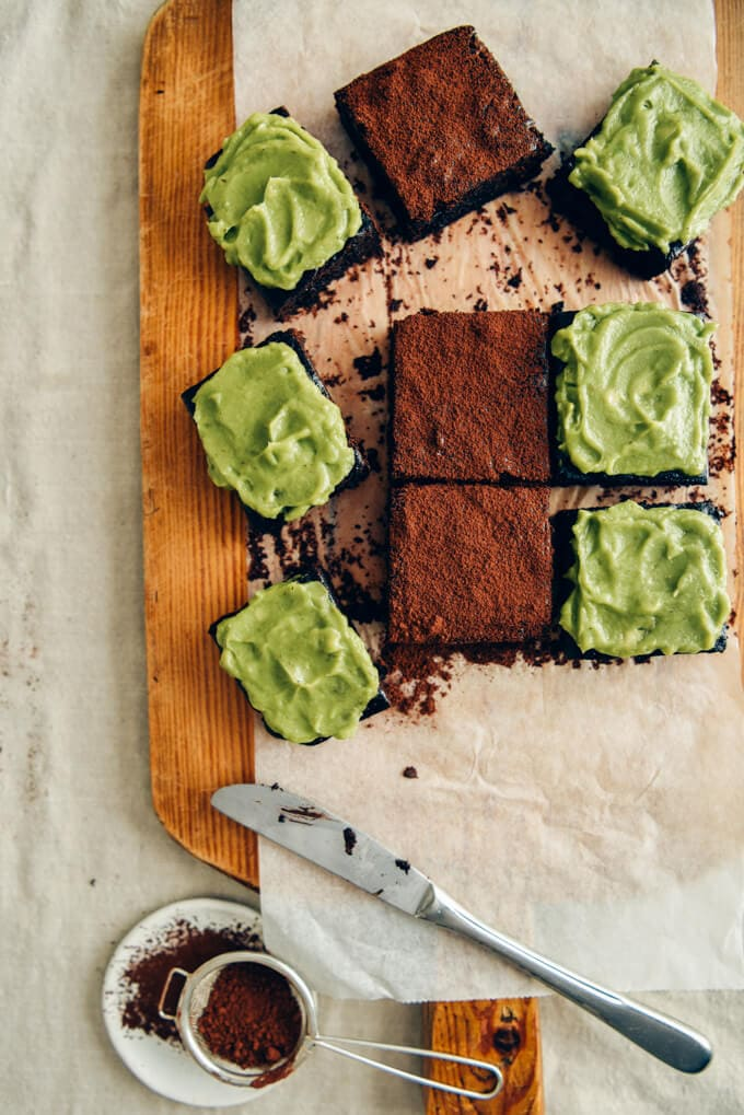 Healthier avocado brownies with dairy free avocado frosting