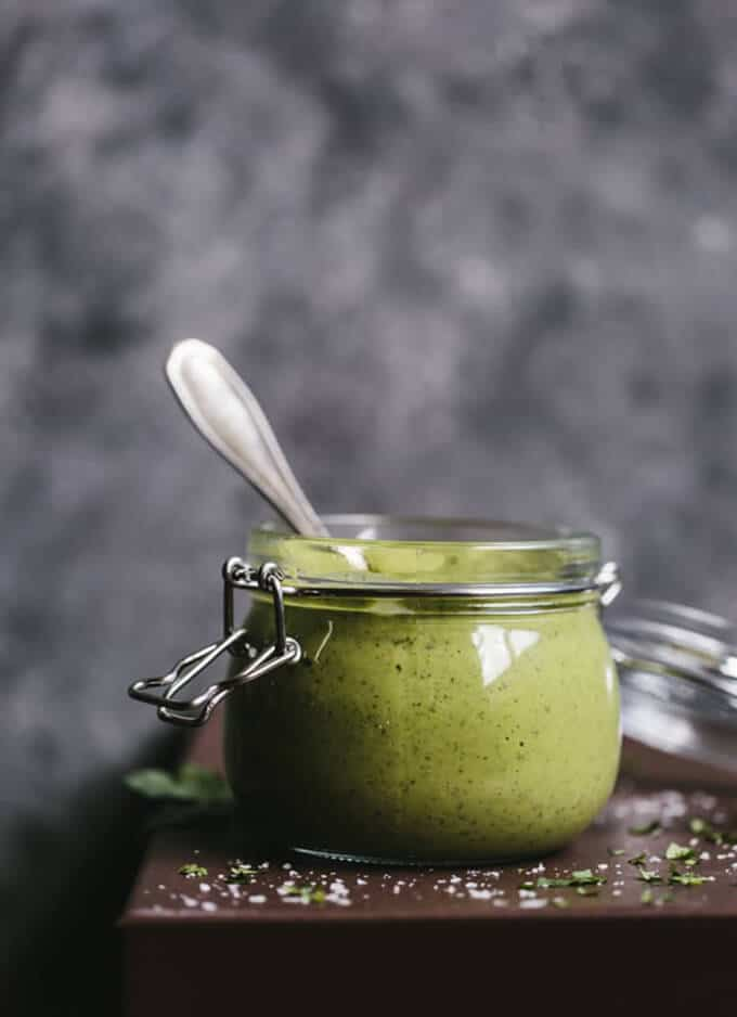 Avocado salad dressing in a jar