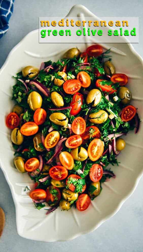 Green olive salad packed with Mediterranean flavors makes a wonderful light lunch or side dish in summer. #salad #summersalad #greenolives #olivesalad #vegetarian