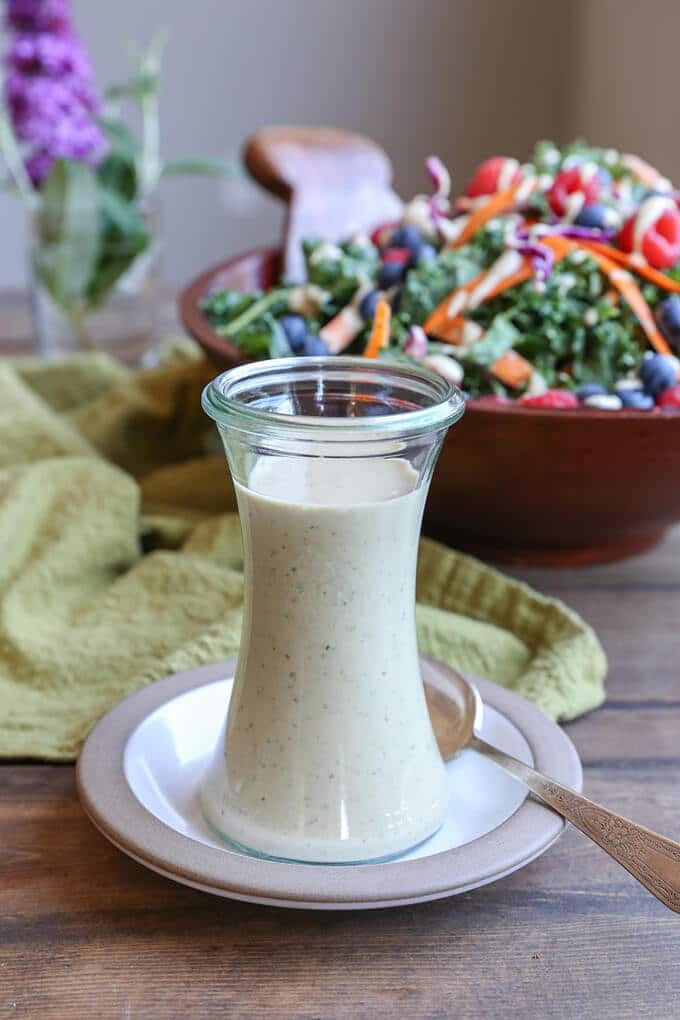 vegan buttermilk salad dressing in a jar