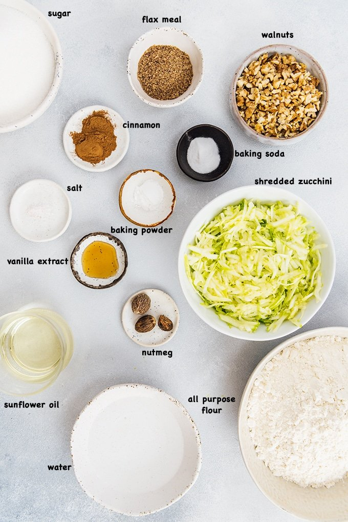 Vegan zucchini bread ingredients
