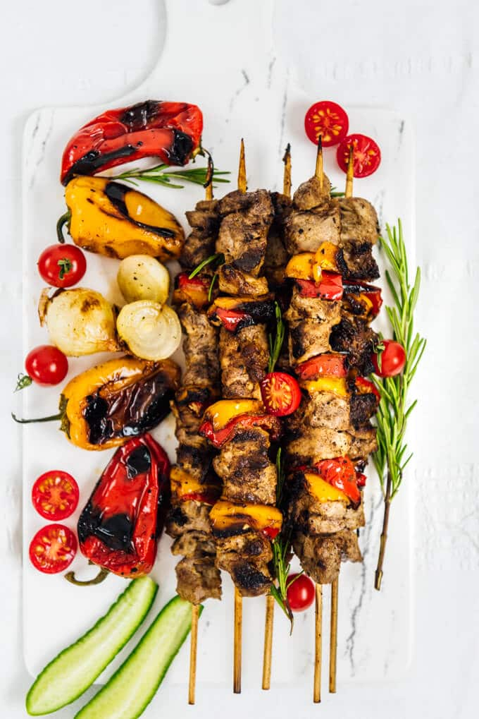 Lamb shish kabob with roasted peppers as a part of game day appetizers