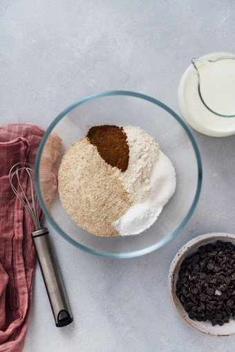 Dry ingredients for an eggless pancake recipe ready in a mixing bowl