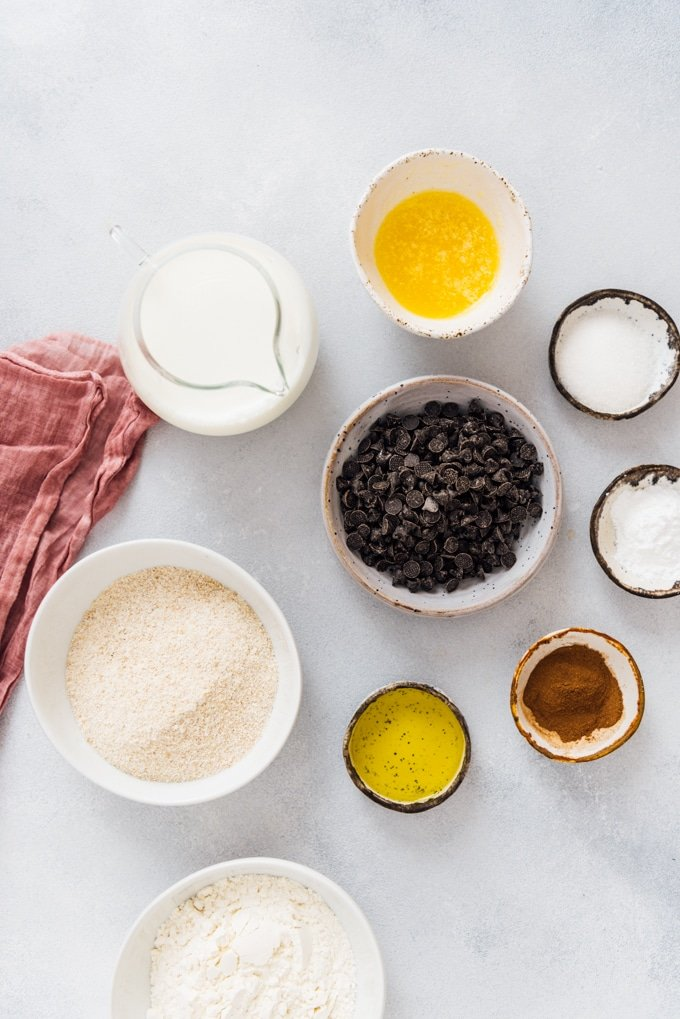 Ingredients for egg free pancake recipe ready on a grey background.