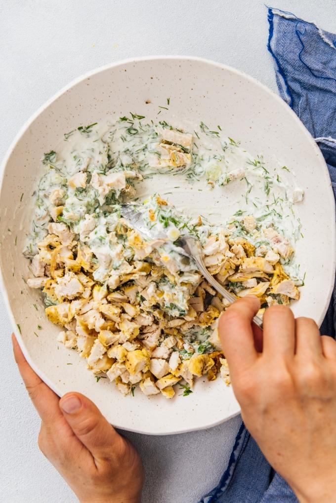 Making low carb chicken salad recipe