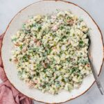 easy macaroni salad recipe with veggies, pickles and a yogurt-mayo dressing