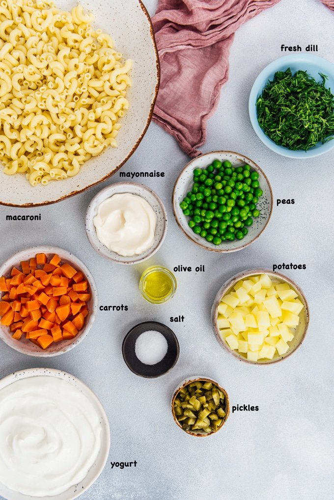 macaroni salad recipe ingredients photo