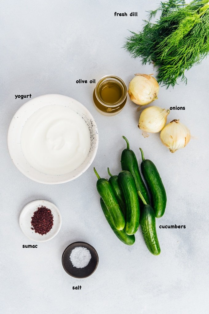 Creamy cucumber and onion salad ingredients