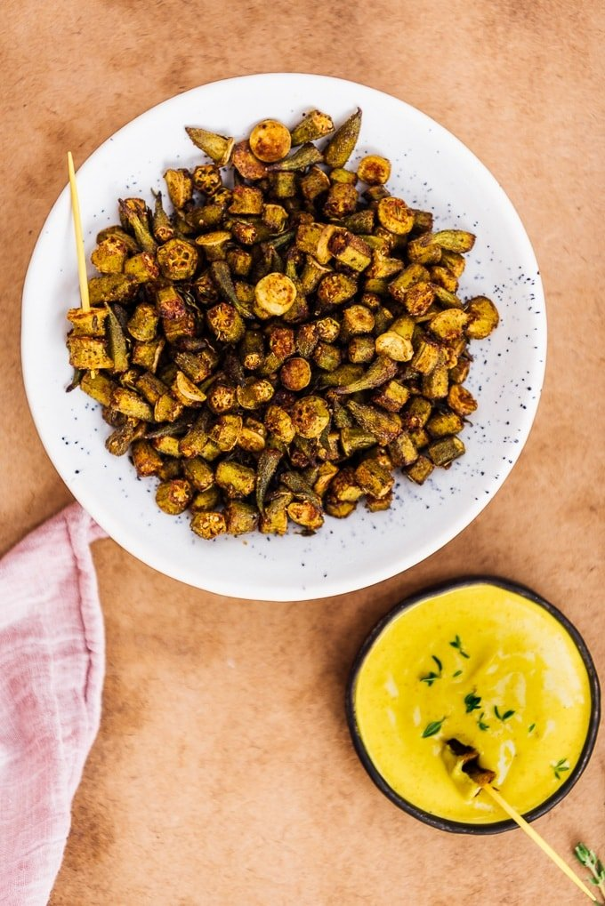 Crispy roasted okra chips in a bowl