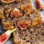 Vegan fresh fig bread with walnuts