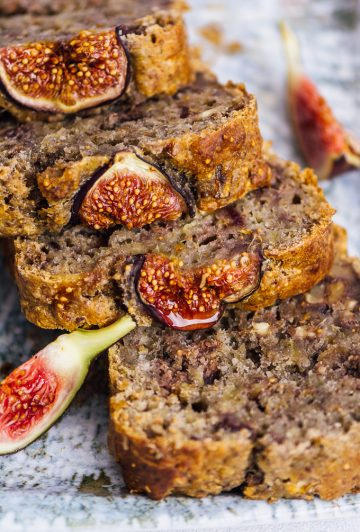 Vegan fresh fig bread with walnuts