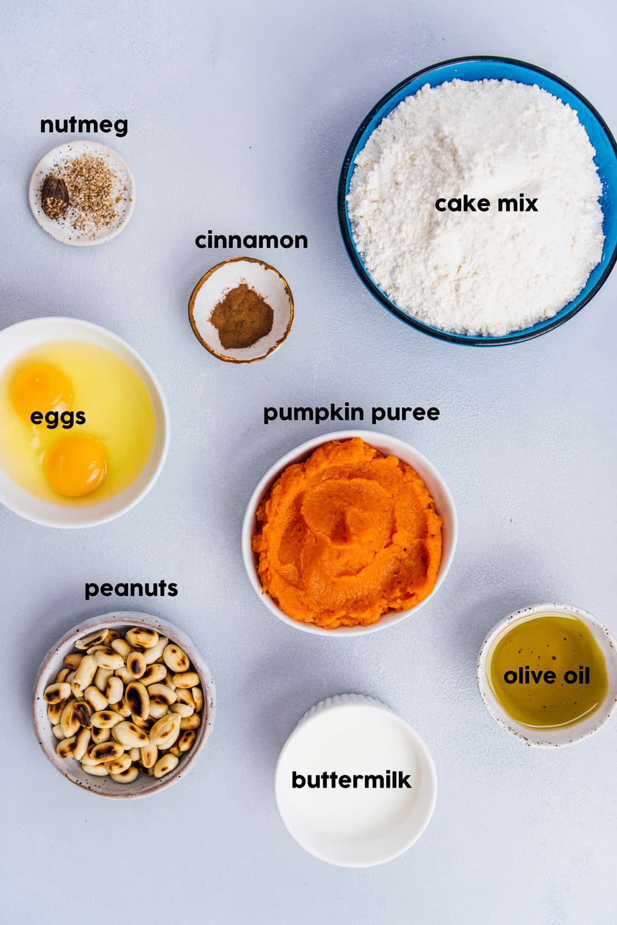 Cake mix, pumpkin puree, eggs, nutmeg, cinnamon, panuts, buttermilk and olive oil all in separate bowls on a grey background.