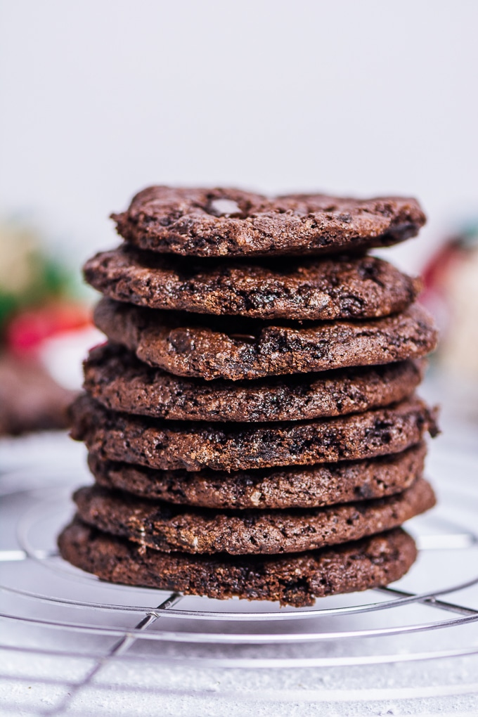 A stack of chocolate cookies made with cake mix