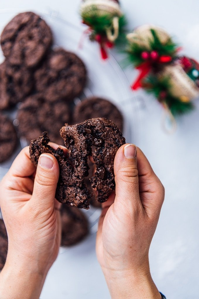 Grabbing a soft and chewy chocolate cookies made with chocolate cake mix