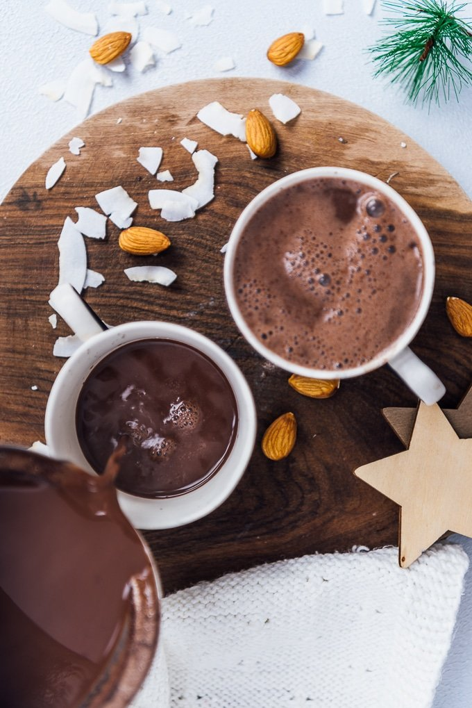 Serving vegan hot chocolate in cups