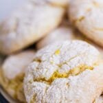 Lemon cake mix cookies on a plate