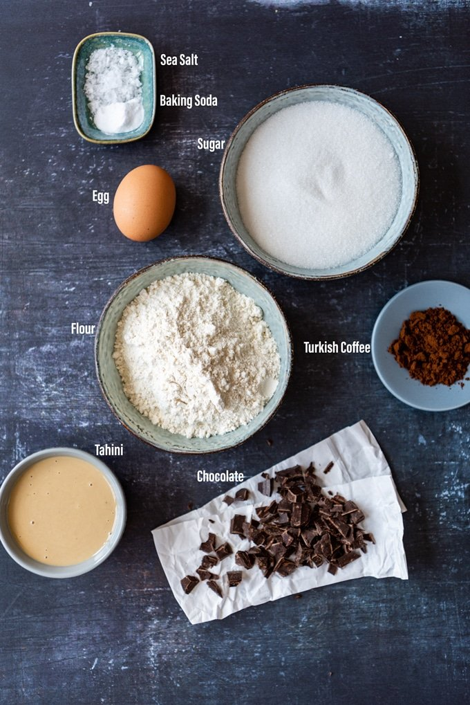 Chocolate tahini cookie recipe ingredients