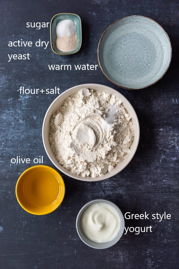 Turkish pan bread ingredients photography