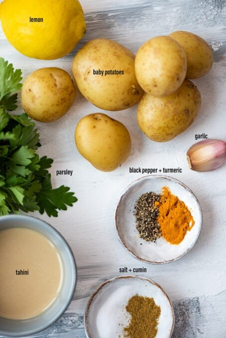 Ingredients to make vegan deviled eggs with potatoes