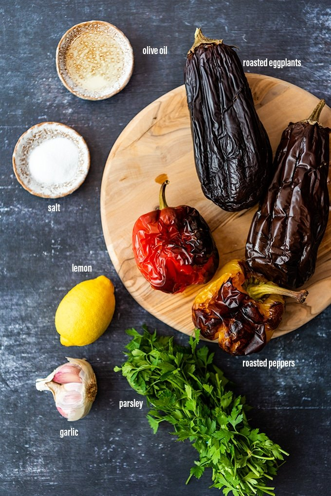 baba ganoush  recipe ingredients on a dark background