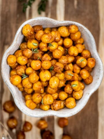 Spicy roasted chickpeas in a white bowl.